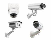 Isolerad vit bakgrund för CCTV-säkerhetskameror Med att fästa ihop p Royaltyfri Bild