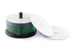 Isolerad vit bakgrund för CD-SKIVA uppsättning Arkivfoto