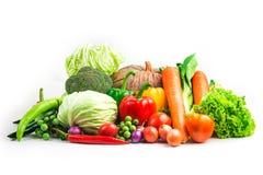 Isolerad vit bakgrund för samling grönsaker Arkivfoto