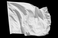 Isolerad vit flagga Arkivbilder