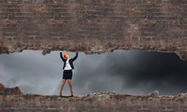 isolerad vit kvinna för bacground tekniker Arkivfoton