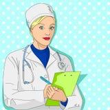 isolerad vit kvinna för bakgrund doktor En flicka i en dressingkappa och läkarundersökningkläder Samlar en anamnes, en granskning royaltyfri illustrationer