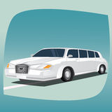 Isolerad vit limousine Royaltyfri Foto