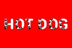 Isolerad vit text för varmkorven med den svarta hunden tafsar tryck Typografi med trycket för djur fot stock illustrationer
