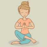 isolerad vit yoga för bakgrund flicka Arkivbild