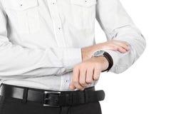 isolerad watch för affärsmancloseup hand Royaltyfria Foton