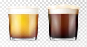 isolerad white för öl exponeringsglas genomskinlig kopp vektor illustrationer