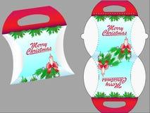 isolerad white för ask gåva Mall för gåvaask för sötsaker eller andra julgåvor stock illustrationer