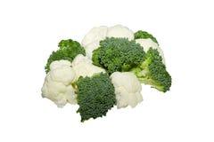isolerad white för backgrobroccoli blomkål Arkivbilder