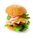 isolerad white för bakgrund hamburgare Royaltyfri Bild