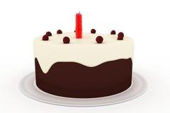 isolerad white för bakgrundsfödelsedag cake Arkivbild