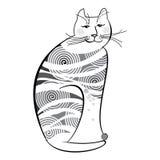 isolerad white för bakgrundskatt rolig illustration Stock Illustrationer