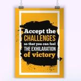 isolerad white för challenge begrepp Motivationsegercitationstecken Affischmall för inbjudan, hälsningkort eller t-skjorta royaltyfri illustrationer