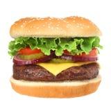isolerad white för cheeseburger hamburgare Fotografering för Bildbyråer