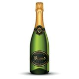 isolerad white för flaska champagne Arkivbilder