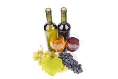 Isolerad wine buteljerar med exponeringsglas arkivfoto