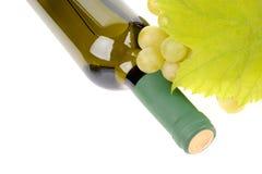 Isolerad wine buteljerar med gröna druvor arkivfoto