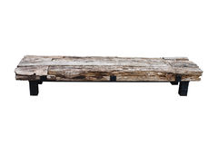 Isolerad wood bänk arkivfoto