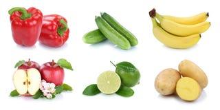 Isolerade äpplebananer för frukter och för grönsaker sätter en klocka på samlingen pe Fotografering för Bildbyråer