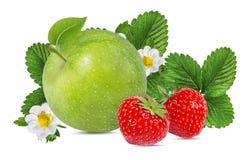 Isolerade äpplen och jordgubbar Royaltyfria Foton