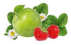 Isolerade äpplen och jordgubbar Arkivfoto