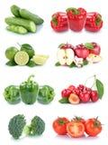 Isolerade äppletomater för frukter och för grönsaker sätter en klocka på samlingen p Arkivfoto