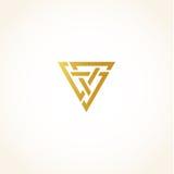Isolerade abstrakta guld- färgtrianglar drar upp konturerna av logo på svart bakgrund, den geometriska triangulära formlogotypen, Arkivfoto