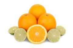 Isolerade apelsiner och citrus limefruktfrukt Arkivbilder