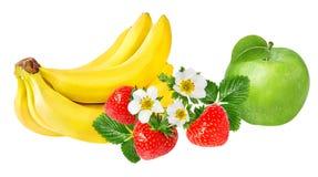 Isolerade bananer, äpple och jordgubbar Arkivbild