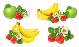 Isolerade bananer, äpple och jordgubbar Royaltyfri Bild