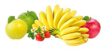 Isolerade bananer, äpple och jordgubbar Arkivbilder