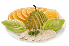 Isolerade bananer för päron för äpplen för fruktplattaapelsiner Arkivbilder