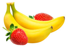 Isolerade bananer och jordgubbar Royaltyfri Fotografi