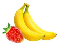 Isolerade bananer och jordgubbar Arkivfoto