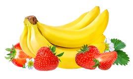 Isolerade bananer och jordgubbar Royaltyfri Bild