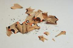 isolerade blyertspennashavings Arkivfoton