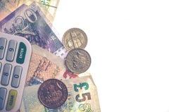 Isolerade brittiska mynt och anmärkningar Arkivbild