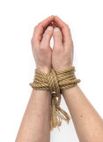Isolerade bundna händer Arkivfoto