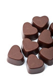 isolerade chokladhjärtor Fotografering för Bildbyråer