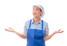 isolerade den caucasian kockkocken för asiatisk bakgrund den model mångkulturella presenterande visande vita kvinnan Kvinnakock,  royaltyfria foton