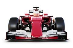 Isolerade den främre sikten för racerbilen och för chauffören på en vit bakgrund stock illustrationer