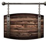 Isolerade den medeltida skylten för trätrumman som hänger på kedjor, illustrationen 3d Fotografering för Bildbyråer