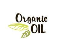 Isolerade den organiska olje- handen drog etiketten vektorillustrationen Naturlig skönhet, sund livsstil, ecobrunnsort, bio omsor royaltyfri illustrationer