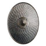Isolerade den ovala skölden för metall som täcktes av våg, illustrationen 3d royaltyfria foton
