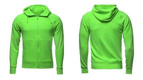 Isolerade den snabba banan för den tomma gröna manliga hoodietröjan, sweatern för designmodell och mallen för tryck, vit bakgrund Fotografering för Bildbyråer