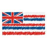 Isolerade den utdragna nationsflaggan för handen av Hawaii på en vit bakgrund Vektorn skissar stilillustrationen royaltyfri illustrationer