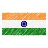 Isolerade den utdragna nationsflaggan för handen av Indien på en vit bakgrund Vektorn skissar stilillustrationen royaltyfri illustrationer