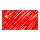 Isolerade den utdragna nationsflaggan för handen av Kina på en vit bakgrund Vektorn skissar stilillustrationen vektor illustrationer
