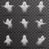 Isolerade den vita läskiga spöken för allhelgonaaftonen för nattbakgrund för mallen den genomskinliga illustrationen för vektorn stock illustrationer
