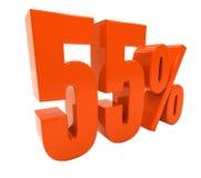 55 isolerade det röda procenttecknet Arkivfoto